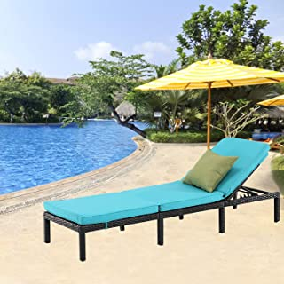 Furnimy Outdoor Adjustable Cushioned Chaise Lounge Chair All Weather Rattan Wicker for Patio Beach Pool