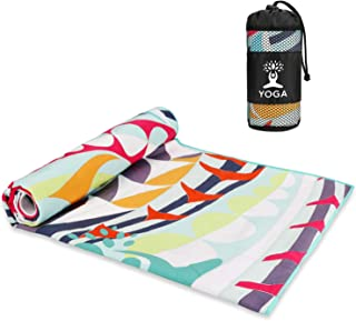 Number-One Hot Yoga Mat Towel Non Slip, Pro Yoga Mat Triangle Corner Pockets Design, Microfiber and Free Carry Bag Perfect...