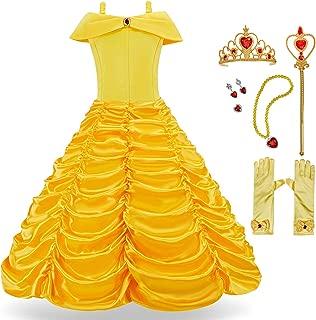 Princess Costume Dress for Girls Toddler Dress Up Yellow