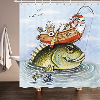 JAWO Funny Christmas Shower Curtain for Bathroom, Santa Claus Fishing on Boat Xmas Watercolor Painting Profession Polyester Fabric Bath Accessories Curtains Decor with 12PCS Hooks 69X70 Inches
