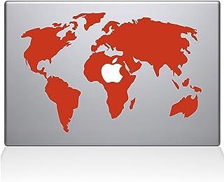 "The Decal Guru World Map MacBook Decal Vinyl Sticker - 13"" MacBook Pro (2015 & Older) - Orange (0194-MAC-13P-P)"