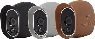 3 Fundas de Silicona compatibles con la cámara de Seguridad Arlo Smart Security - Cámaras 100% inalámbricas de Wasserstein (Negro/Marrón/Gris)