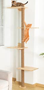 Cat Tree Tall Tower 73 Inch Wall Mounted Real Wood Cat Climber for Indoor Cat Modern Cat Activity Trees with Scratching Post (Wood)