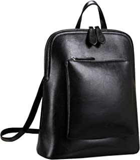 Women's Vintage Leather Backpack Casual Daypack for Ladies and Girls (Black)