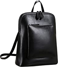 Heshe Women's Vintage Leather Backpack Casual Daypack for Ladies and Girls (Black)