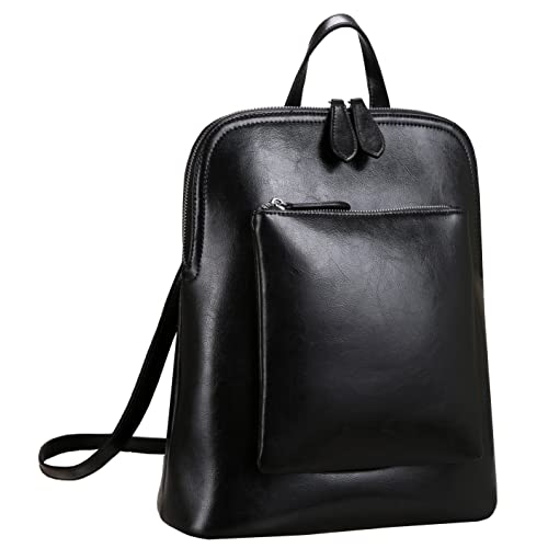 2585f9809d26d Heshe Women s Vintage Leather Backpack Casual Daypack for Ladies and Girls ( Black)