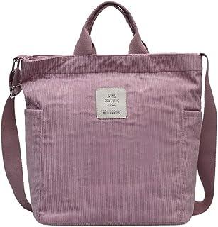 Lsdnlx Convas Tasche,Cord Tasche Große Umhängetaschen Streifen Stoff Handtasche Tasche Weibliche Umhängetaschen Damen Dame...