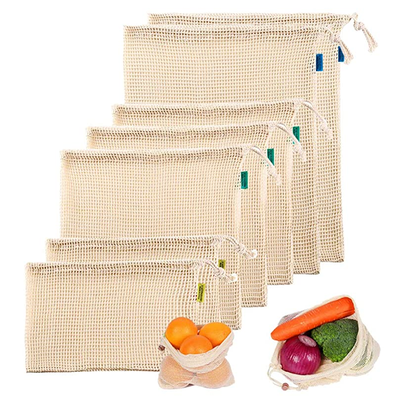 Sindello Reusable Mesh Produce Bags Grocery Reusable, Washable Cotton Vegetable Bags, Foldable Cotton Mesh Laundry Bag for Grocery Shopping & Storage Set of 7(2S,3M,2L)