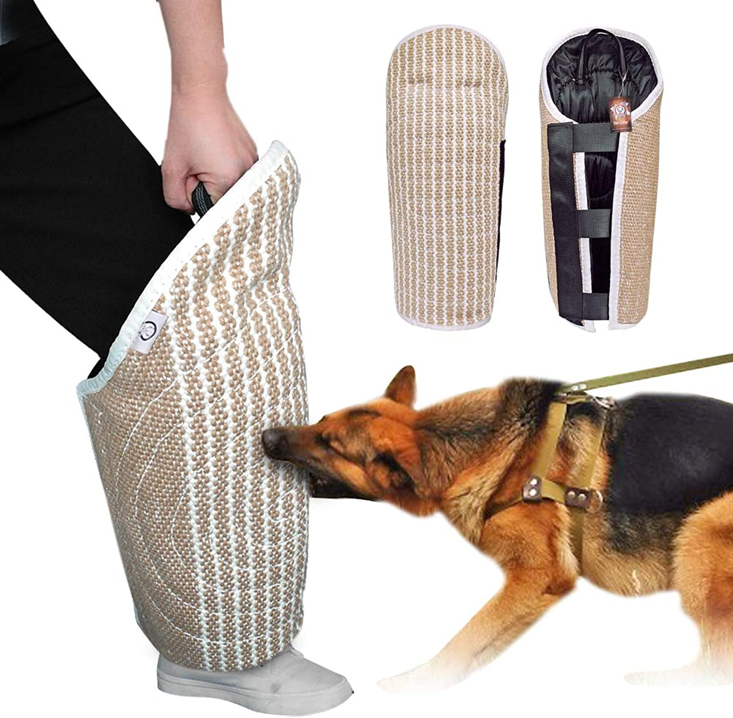 PET ARTIST Professional Jute Puppy Dog Bite Leg Sleeves with Handle for Training Work Dog Puppy,Leg Training Sleeves Fit Malinois Police K9 German Shepherd Mastiff