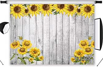 HVEST Sunflower Backdrops for Photoshoot 7x5ft Fabric Rustic Wood Background Child Baby Shower Birthday Party Banner for Picture Photo Studio Photobooth Decoration