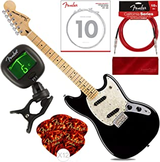 Fender 6 String Mustang, Maple Fingerboard, Black with Tuner, Strings, Picks, Cable & Cloth Bundle