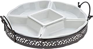 Harmony Revolving Lazy Susan With Iron Stand 4 Side Dishes - Set of 6,White
