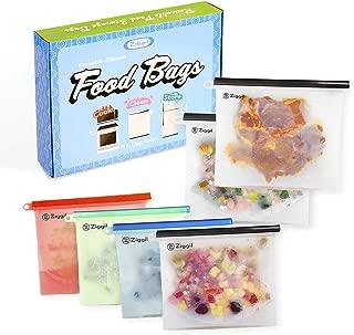 Reusable Silicone Food Storage Bag Set of 6 (4x30oz, 2x50oz) - Versatile baggies for Sandwich Snack| Airtight Seal Leak Proof| Boil Cooking Sous Vide Steamer Reheat| Freezer Microwave Dishwasher Safe