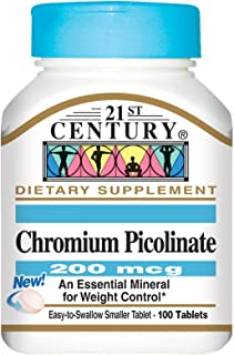 21st Century Chromium Picolinate, 200 mcg, 100 Tablets