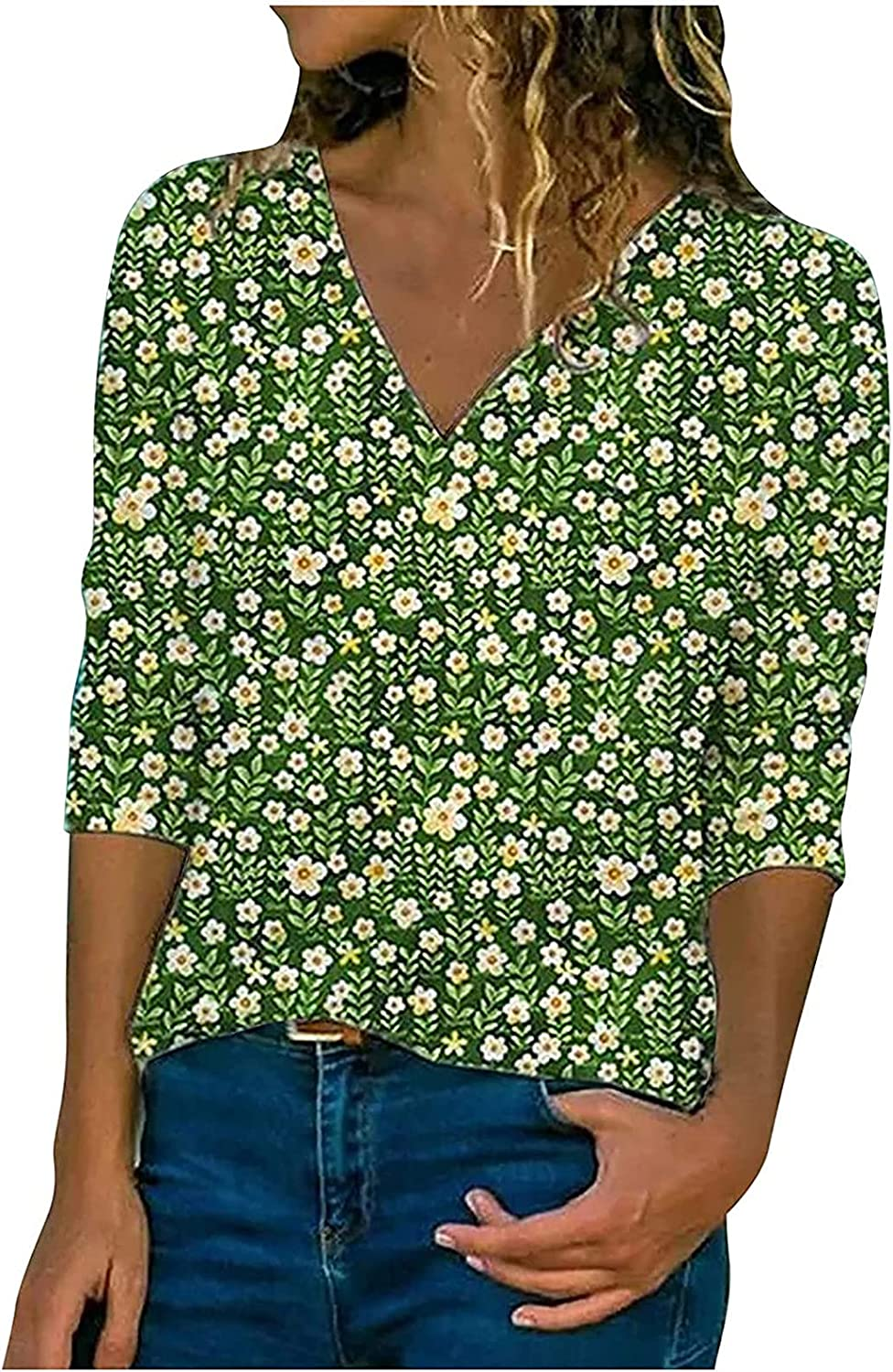 Women Long Sleeve Shirts Floral Printing V-Neck Casual Personality Pullover Daily Breathable Blouses