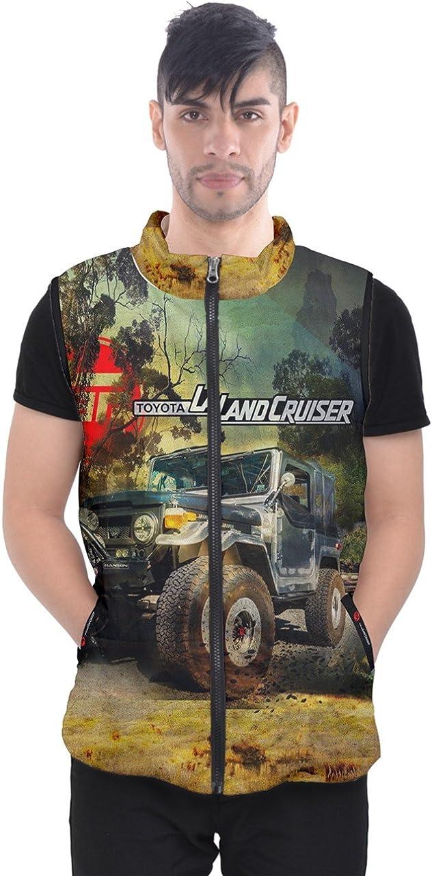 FJ40 Offroad Jeep Land Cruiser Design Full Print Men's Puffer Vests Jacket