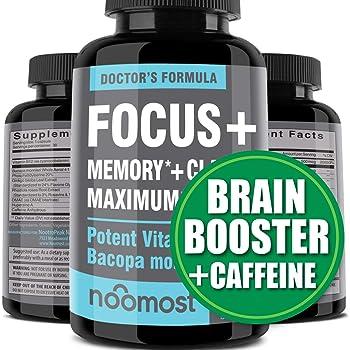 Brain Focus Supplement for Memory Support & Brain Booster - Nootropics Energy Pills & Brain Supplement As Caffeine Pills with Brain Vitamins of Rhodiola Rosea, Bacopa Monnieri, Ginkgo Biloba, DMAE