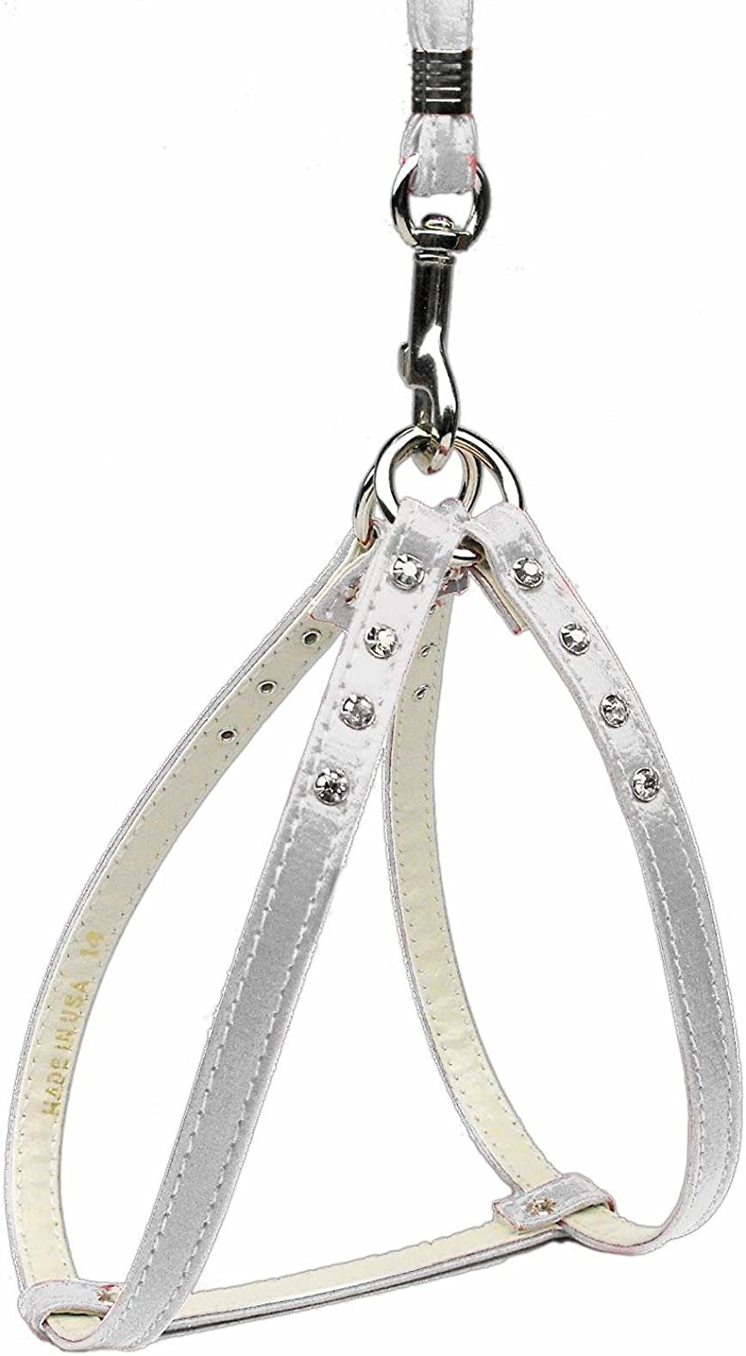 Dog   Cat   Pet Charms StepIn Harness White w  Clear Stones 16