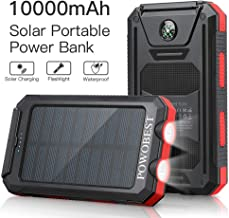 Solar Charger 10000mAh,POWOBEST Waterproof Portable External Battery, Power Bank,Flashlight, Compass,Dual 5V/2.1A USB Ports,for Smartphones,iPhone,Cell Phone Charger,Samsung,Tablets,USB Charger,Red