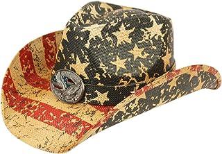 ANGELA & WILLIAM USA American Flag Straw Cowboy Hat w/Shapeable Brim, Red, White, Navy Blue