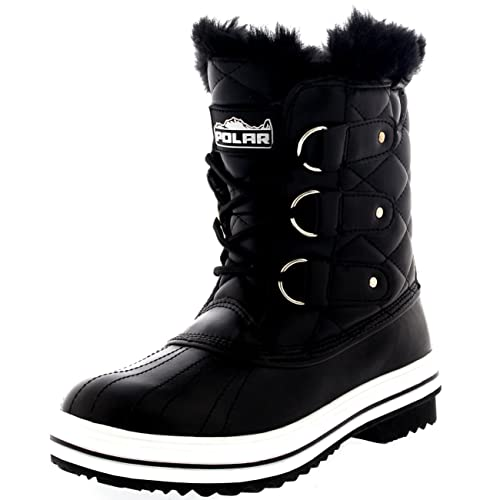 b35ca9b5e8b6a4 Polar Products Womens Snow Boot Quilted Short Winter Snow Rain Warm Waterproof  Boots