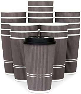 Glowcoast Disposable Coffee Cups With Lids - 16 oz To Go Coffee Cup (80 Pack). Large Travel Cups Hold Shape With Hot and Cold Drinks, No Leaks! Insulated Ripple Cups Protect Hands, No Sleeves needed.