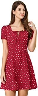 Women's Star Heart Floral Print Casual Square Neck Short Sleeve Flare Dress