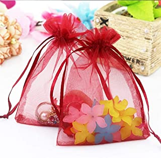 100Pcs 30x40cm Organza Gift Bags Drawstring Jewelry Pouches for Candy Wedding Party Christmas Favor Bags,Burgundy