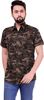 BASE 41 Men's Cotton Camouflage Army Print Half Sleeves Shirt