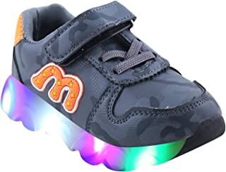 LNG Lifestyle Led Boys & Girls Velcro Running Shoes (Grey - 1 Years to 5 Years Old Kids)