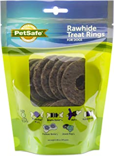 PetSafe Natural Rawhide Rings, Dog Toy Treat Ring Refills for Busy Buddy Dog Toys, Small, Medium, Large and Variety Packs Available in Peanut Butter and Original Rawhide