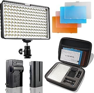 SAMTIAN Luz de Vídeo LED 160 Unidades 3200/5500k para Cámaras Réflex Canon Nikon Pentax Olympus Panasonic Samsung JVC DV videocámaras NP-F970 F770 F570 y F550