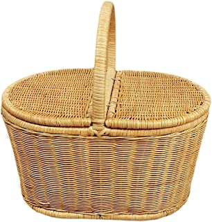 Rattan Woven Basket Portable Outdoor Picnic Basket with Lid-Woven Vegetable and Fruit Basket,Large
