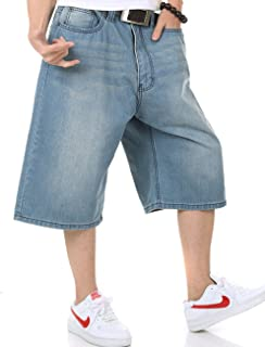 416e922b4fd Aishang Men s Denim Shorts Relaxed Fit Hiphop Skateboard Jeans Assorted Plus  Size