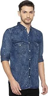 Nick & Jess Double Pocket Denim Slim Fit Shirt for Men