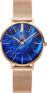 SHENGKE Creative Simplicity Women Watch Mesh Band Elegant Women Watches Ladies Business Wristwatch (K0103L-Blue)