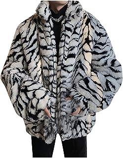 FNKDOR Strisce di Tigre Finta Pelliccia Giacca Uomo Corto Elegante Cappotto Sciolto Risvolto Cardigan Giubbotto