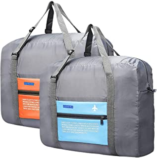 MoonVila 2 Pack Travel Foldable Duffel Bag for Women & Men, Waterproof Lightweight Travel Luggage Bag for Sports, Gym, Vacation, Blue+Orange (Blue) - MV-TB-01
