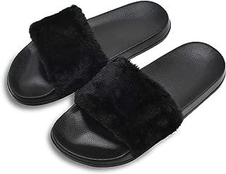 Womens Faux Fur Flat Slide Sandals Fluffy Open Toe Slipper Soft Cozy Plush Indoor Slip on Shoes
