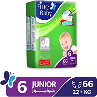 Fine Baby Diapers Mother's Touch Lotion, Junior 22+ Kgs, Mega Pack, 66 Count