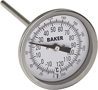 """Baker Instruments T300 Series Stainless Steel Bi Metal Thermometer 0 to 250°F (-20 to 120°C), 6"""" Stem, 1/2"""" NPT Straight Connection, 3"""" Dial"""