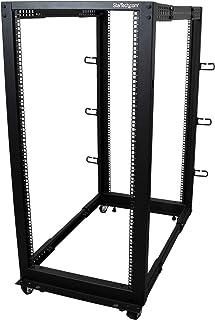 "StarTech.com 25U Open Frame Server Rack - 4 Post Adjustable Depth (22"" to 40"") Network Equipment Rack w/ Casters/ Leveler..."