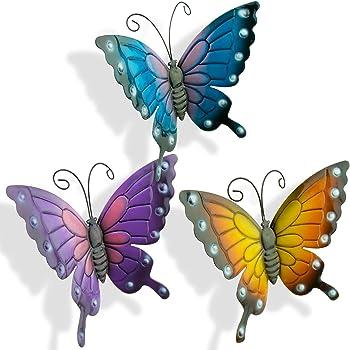 Set of 4 Multi-coloured Small Metal Butterflies Garden//Home Wall Art Ornament
