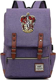 Mochila Gryffindor, Mochila portátil Harry P, con Puerto de Carga USB, Bolsa de Viaje de Ocio de la Universidad Hogwarts Grande Púrpura