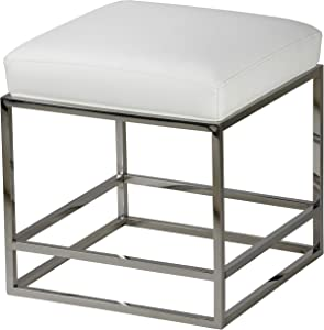 "Cortesi Home Sabrina Metal Cube Ottoman with White Faux Leather Cushion, 18"","