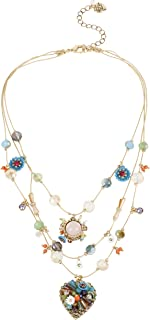 "Betsey Johnson""Weave and Sew"" Woven Mixed Multi-Colored Bead Flower Heart Illusion Necklace"