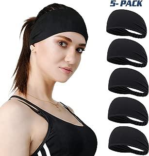DASUTA Set of 5 Women's Yoga Sport Athletic Headband Sweatband for Running Sports Travel Fitness Elastic Wicking Style Bandana Basketball Headbands Headscarf fits All Men & Women