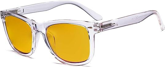 Eyekepper Blue Light Blocking Glasses with Amber Filter Lens - Square Large Lens Computer Eyeglasses - Transparent
