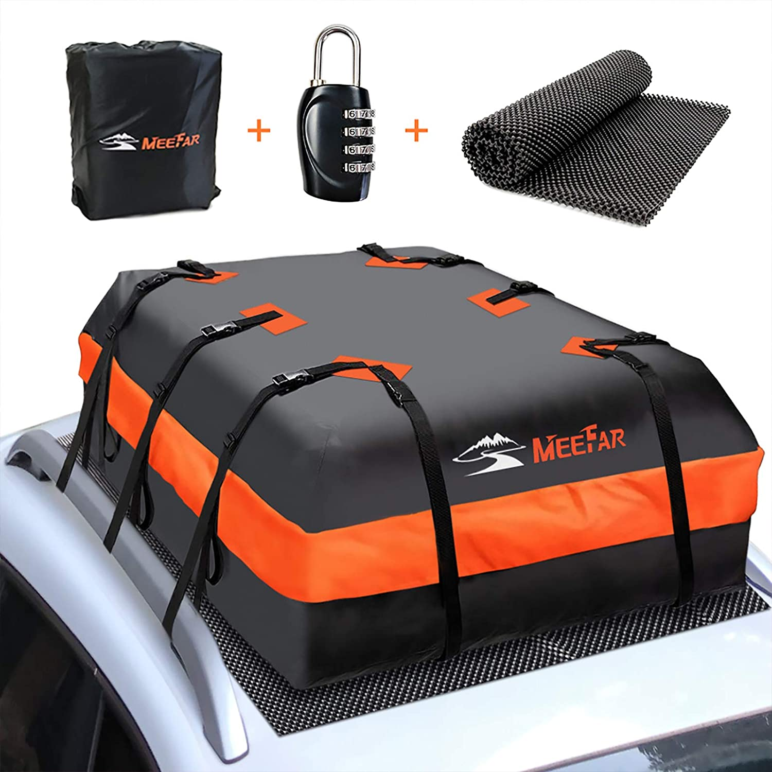 MeeFar Car Roof Bag XBEEK Rooftop top Cargo Carrier Bag 20 Cubic feet Waterproof for All Cars with/Without Rack, Includes Anti-Slip Mat, 10 Reinforced Straps, 6 Door Hooks, Luggage Lock : Automotive