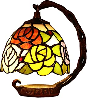 Bieye L10036 Tiffany Style Stained Glass 6-inch Rose Small Bell Table Lamp with Cast Iron Base (Pink)